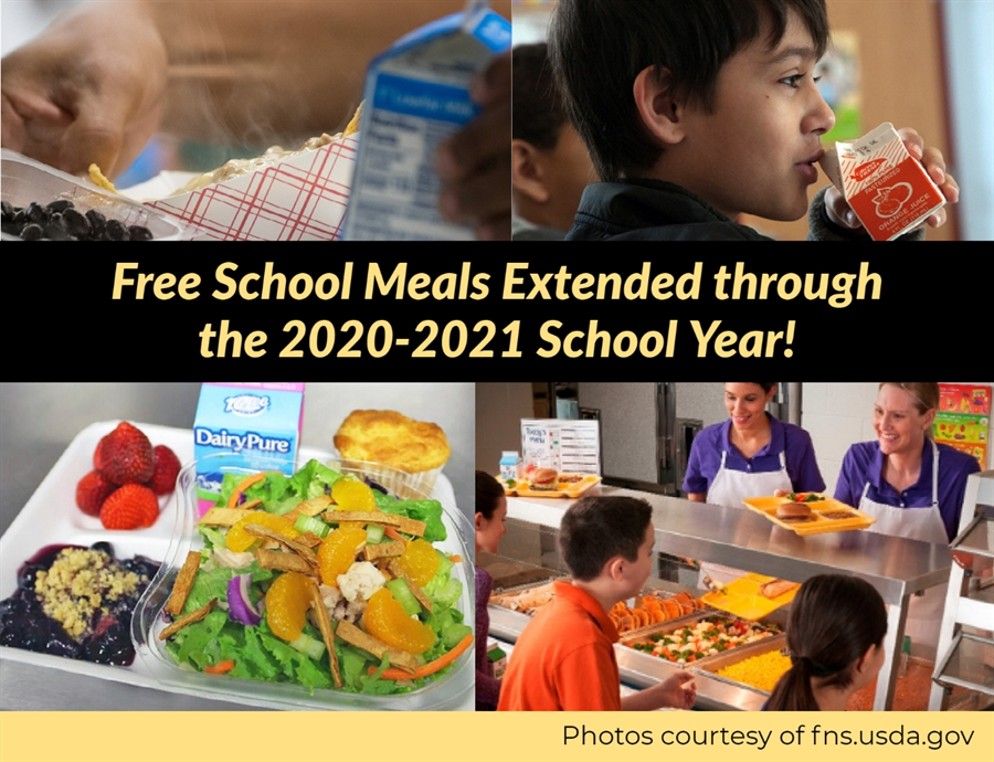 Free school meals have been extended through the 2020-2021 school year. Click to learn more.